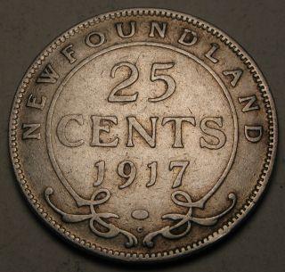 Canada - Foundland 25 Cents 1917 C - Silver - George V.  1501 photo