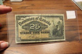 1900 Dominion Of Canada Boville 25 Cent Note Shin Plaster Circulated photo