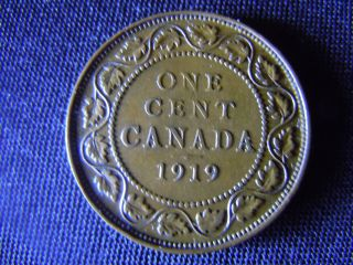 1919 - Canada - Large - One - Cent - Coin -  - Canadian - Penny - H29 photo