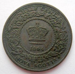 1864 Nova Scotia Half Cent Vf - 20 Scarce & Low Mintage N.  S.  Victoria ½¢ photo