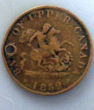 1852 Canada 1/2 Penny Token Km Tn2 Bank Of Upper Canada photo