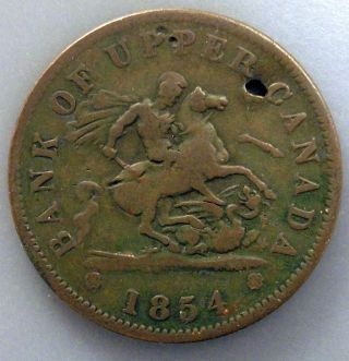 1854 Canada Penny Token Km Tn3 Bank Of Upper Canada photo