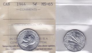 1944 Iccs Ms65 5 Cents (double Legend) Canada Five Nickel photo