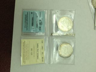 1965 Canadian Silver Dollars (2 Varieties) Type 1 & Type 5 (iccs/cccs Certified) photo