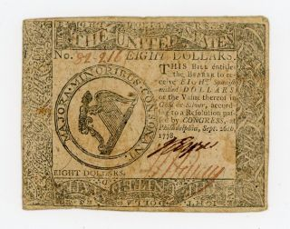 Sept.  26th,  1778 Eight Dollars Philadelphia,  Pennsylvania Colonial Currency Note photo