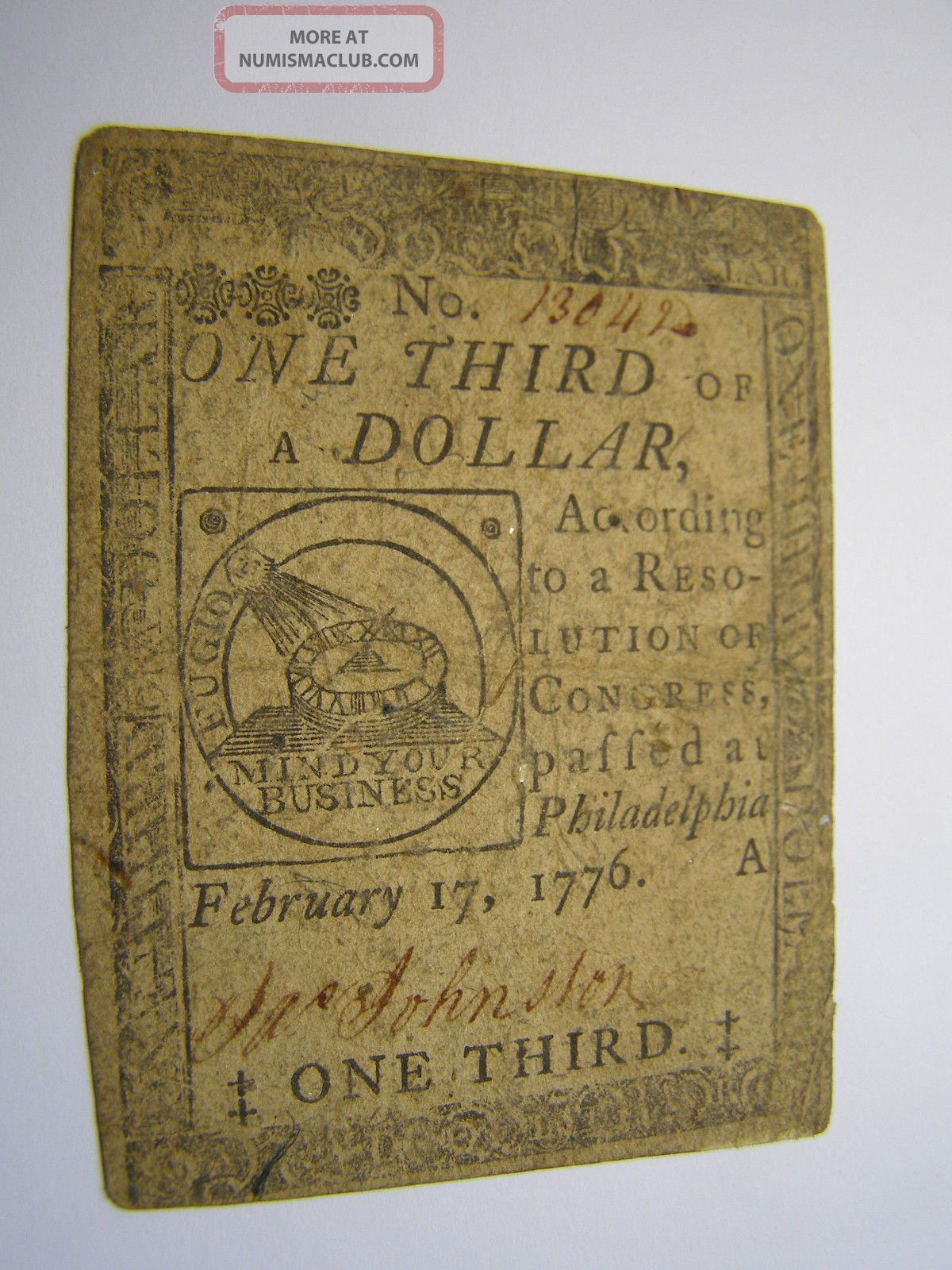 February 17,  1776 - United Colonies - Pa.  1/3 $1 - Colonial Note - Uncancelled Paper Money: US photo