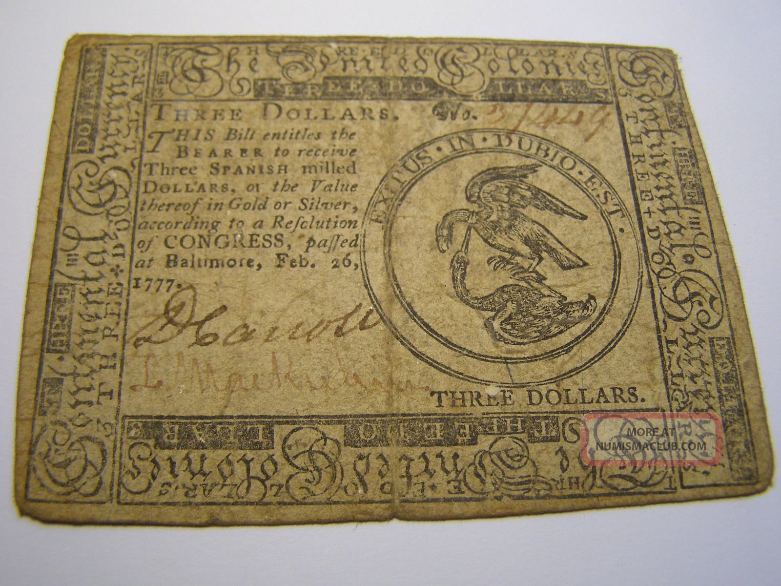 February 26,  1777 - United Colonies - Md.  $3 Colonial Note Uncancelled 37449 Paper Money: US photo