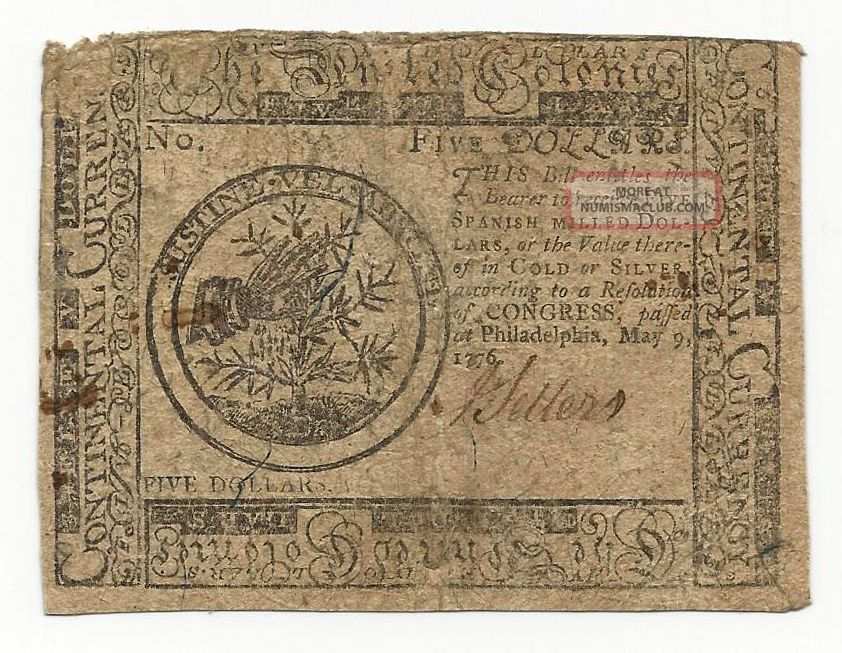 1776 Continental Currency Colonial Note $5 Five Dollars Fine F Paper Money: US photo