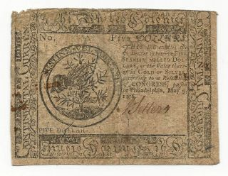 1776 Continental Currency Colonial Note $5 Five Dollars Fine F photo