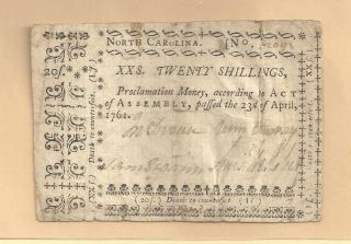 1761 Twenty Shillings North Carolina Colonia History Very Fine photo