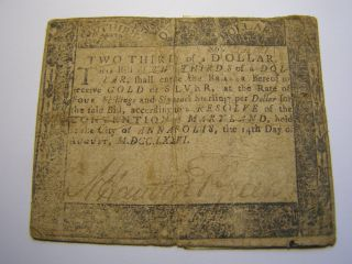 August 14,  1776 - 2/3 Dollar - Maryland - Colonial Note Uncancelled 35021 photo