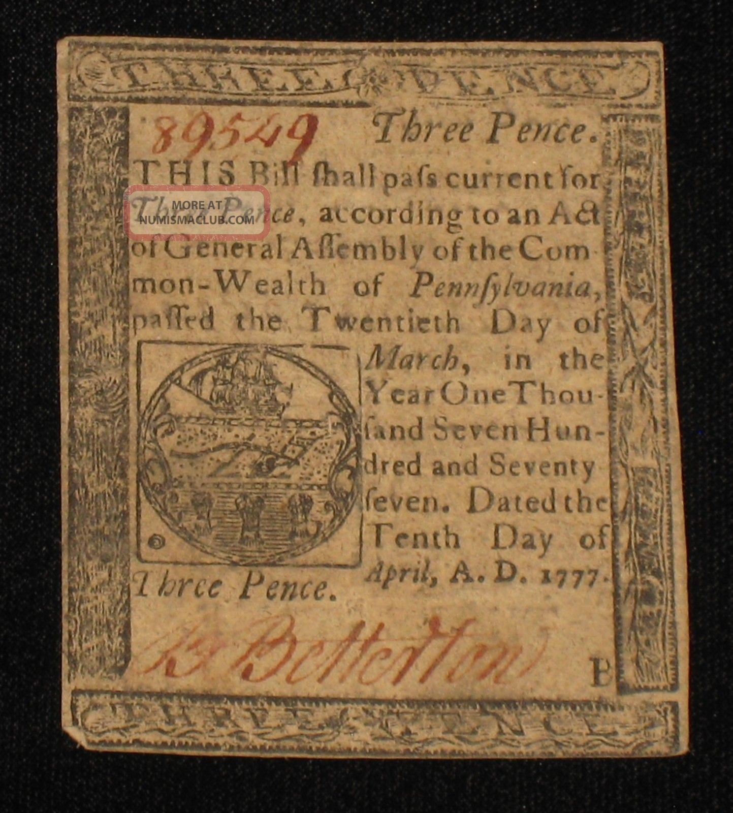 Us Pa State Currency - 3 Pence - Apr 10,  1777 Rare (cc - 125) Paper Money: US photo