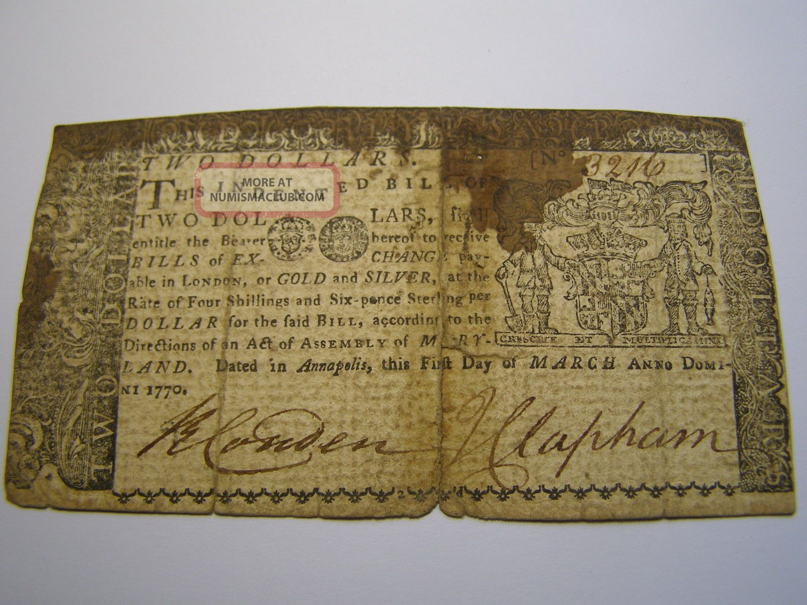 March 1,  1770 - 2 Dollars - Maryland - Colonial Note Uncancelled 3216 Paper Money: US photo