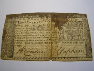 March 1,  1770 - 2 Dollars - Maryland - Colonial Note Uncancelled 3216 photo