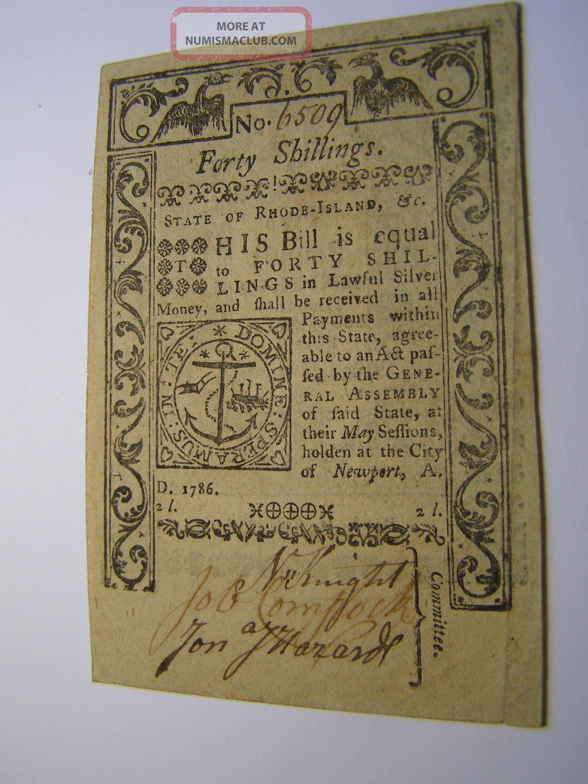 May 1786 40 Shillings/two Pounds Rhode Island Colonial Note Uncancelled 6509 Paper Money: US photo