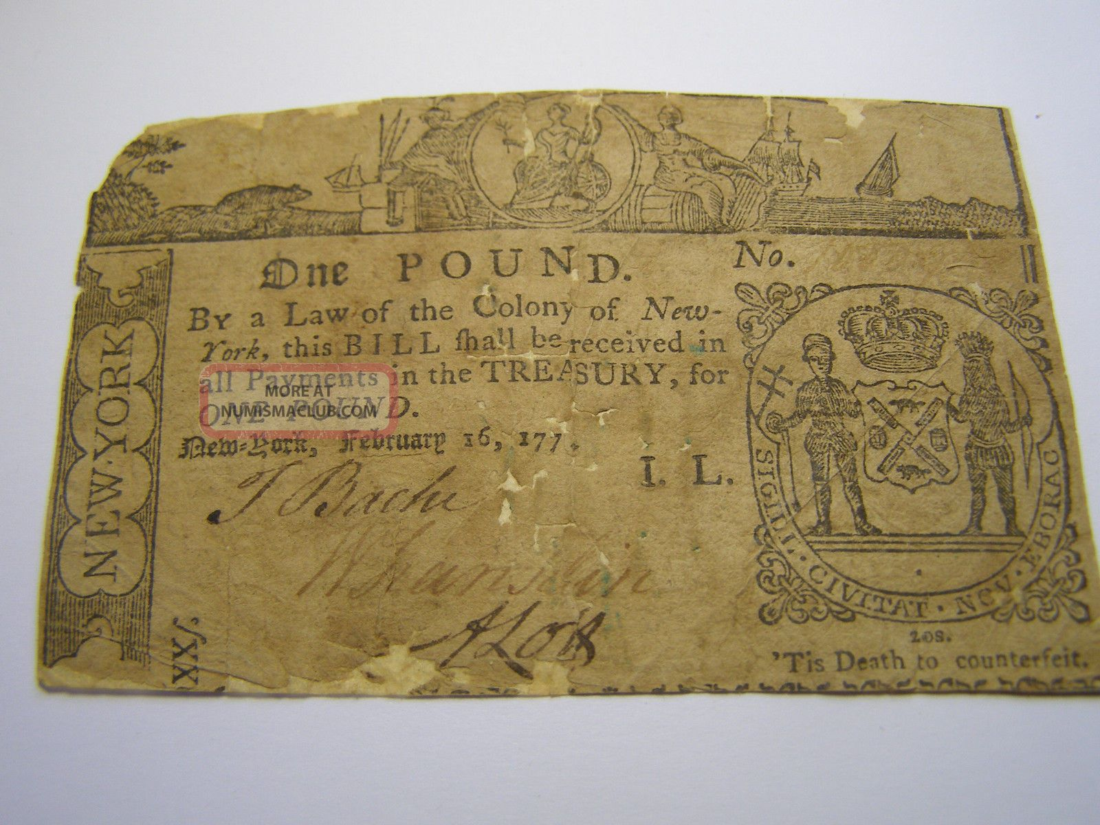 February 16,  1771 - 1 Pound York Colonial Note Uncancelled 10238 Paper Money: US photo