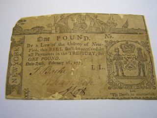 February 16,  1771 - 1 Pound York Colonial Note Uncancelled 10238 photo