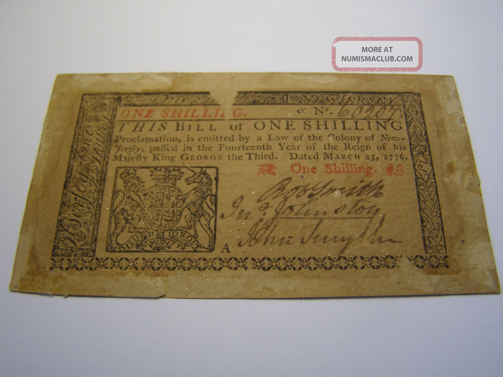 March 25,  1776 - 1 Shilling Jersey Colonial Note Uncancelled Paper Money: US photo