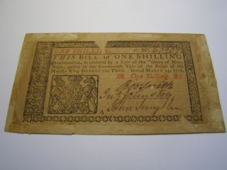 March 25,  1776 - 1 Shilling Jersey Colonial Note Uncancelled photo