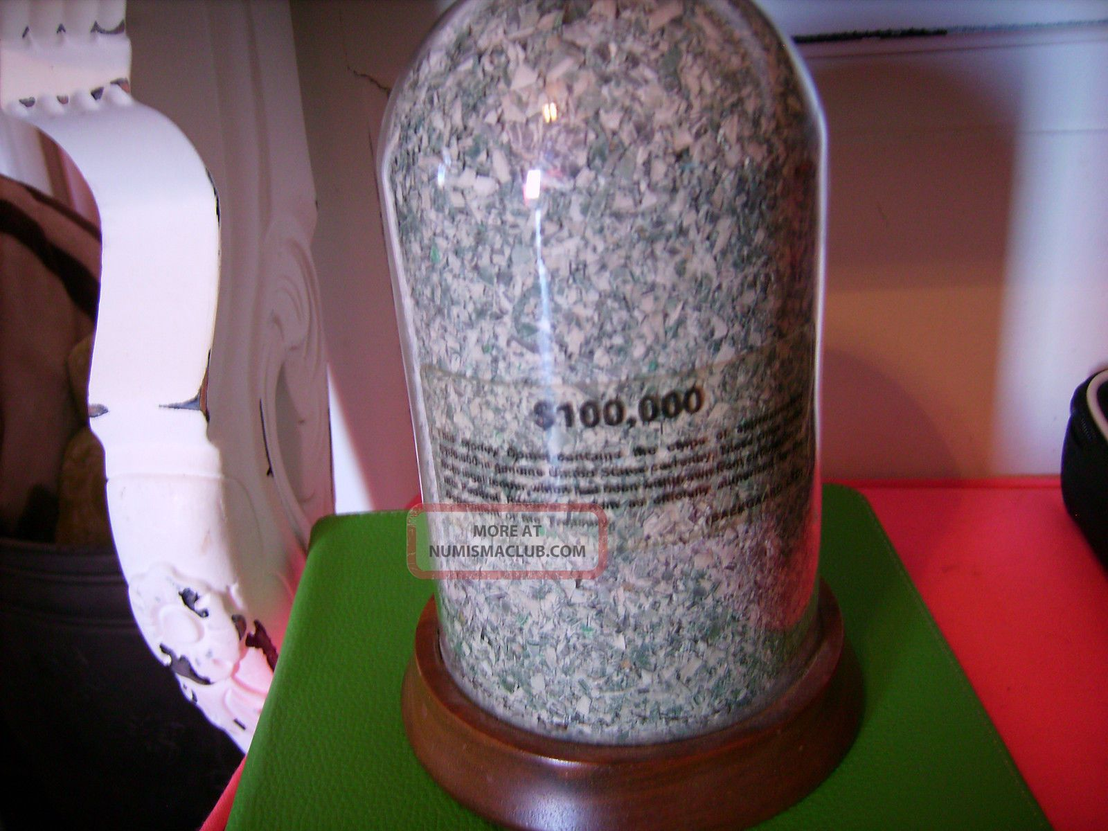 Vintage Glass Money Dome Full Of Shredded U.  S.  Currency Of $100,  000 Paper Money: US photo