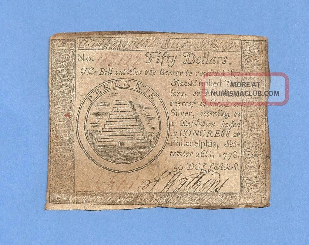 1778 $50 Continental Currency Large Denomination Colonial History Paper Money: US photo