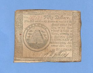 1778 $50 Continental Currency Large Denomination Colonial History photo