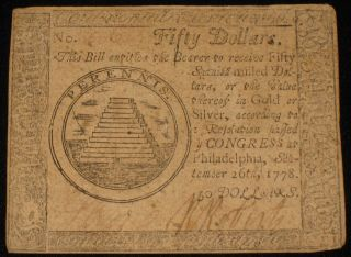 Us Continental Currency - Fifty Dollars - Sep 26,  1778 Rare (cc - 136) photo