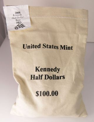 2008 P & D $100 Face Kennedy Half Dollar Unc Sewn 200 Coin Bag photo