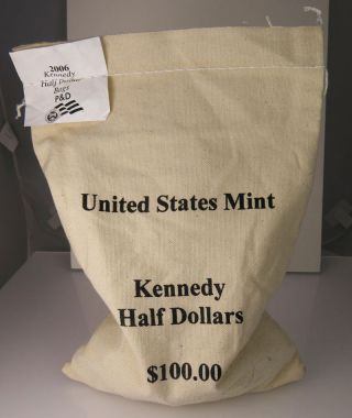 2006 P & D $100 Face Kennedy Half Dollar Unc 200 Coin Bag photo