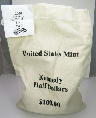2009 P & D $100 Face Kennedy Half Dollar Unc 200 Coin Bag photo