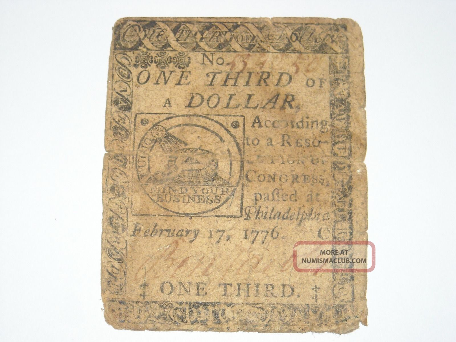 One Third 1/3 Of A Dollar Colonial Continental Currency Fugio Feb.  17th 1776 Paper Money: US photo