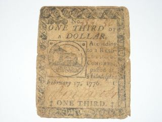 One Third 1/3 Of A Dollar Colonial Continental Currency Fugio Feb.  17th 1776 photo