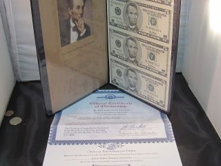 Official Certificate Black Angus Bankers Portfolio Uncut Sheet $5 Bills photo