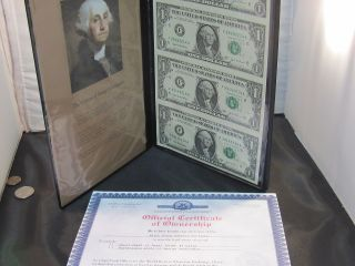 Official Certificate Black Angus Bankers Portfolio Uncut Sheet $1 Bills photo