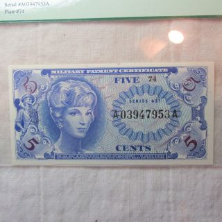 Us Military Payment Certificate 5 Cents Note Series 651 - Pcgs 66ppq Gem photo
