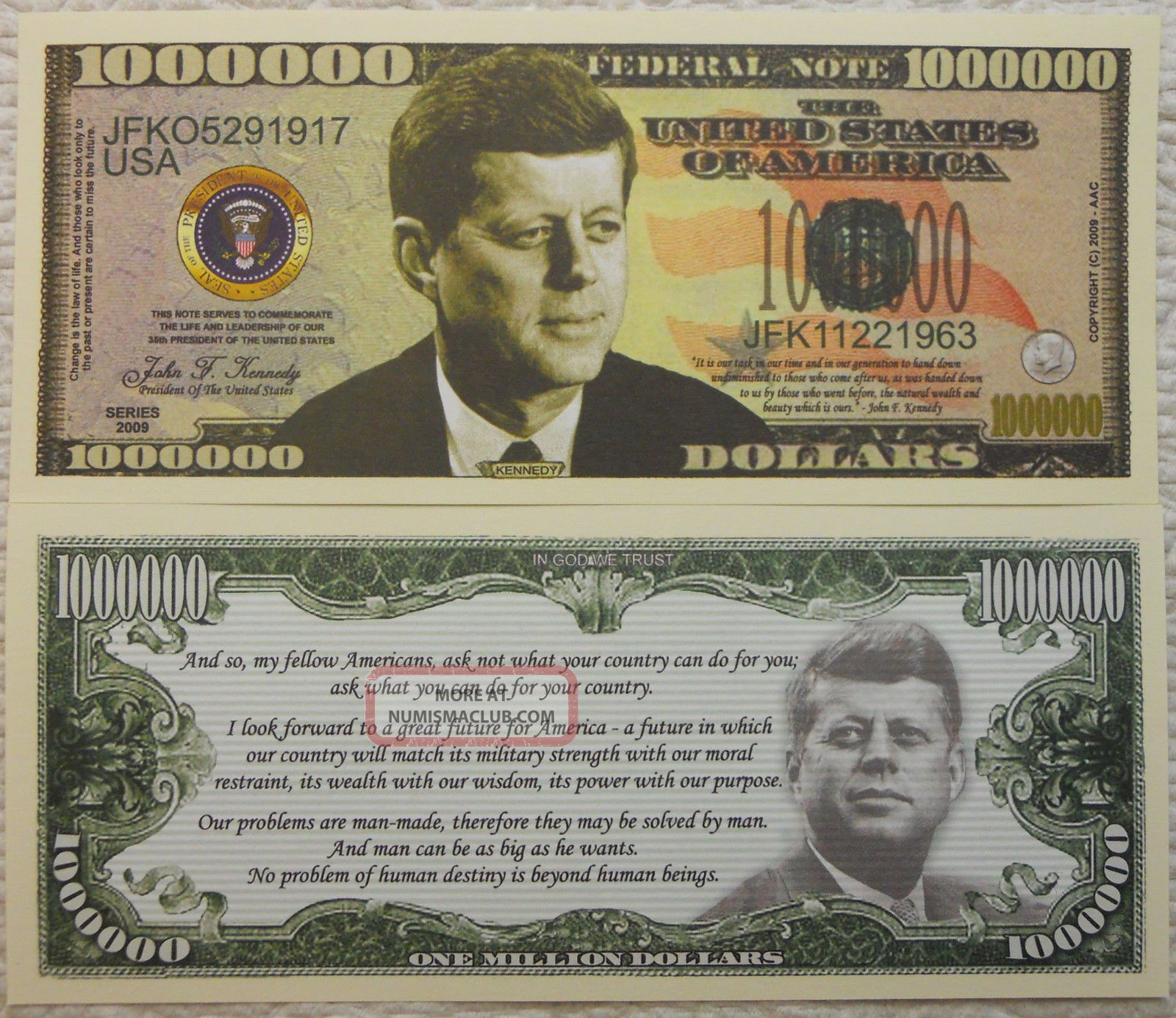 John F.  Kennedy Million Dollar Novelty Bill With Clear Currency Protector Paper Money: US photo