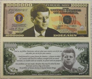 John F.  Kennedy Million Dollar Novelty Bill With Clear Currency Protector photo