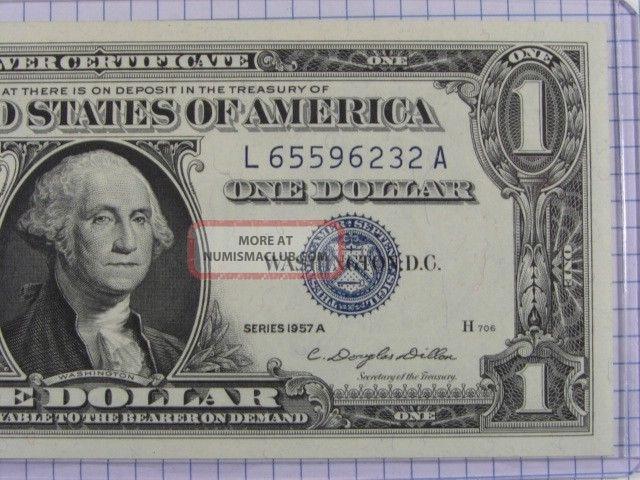 1957 A One Dollar Silver Certificate Grades Crisp Uncirculated Stk Qu28