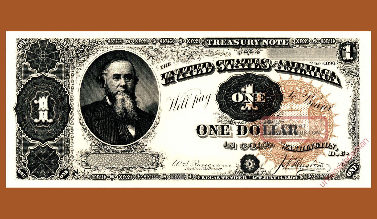 B196 Ipms 1995 Bep Souvenir Card $1 Treasury Note 1890 Face Stanton Paper Money: US photo