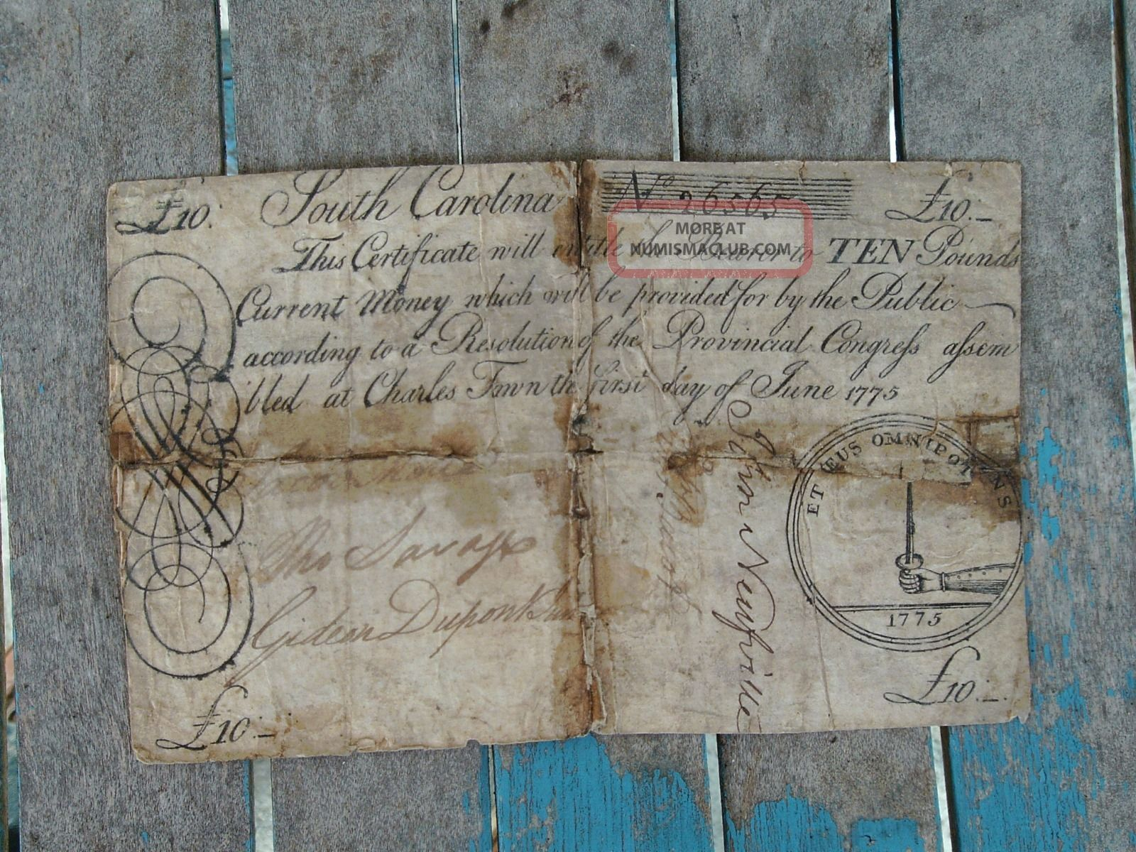 1775 South Carolina 10 Pounds Note Colonial Currency Obsolete Charles Town Bill Paper Money: US photo