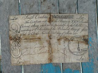 1775 South Carolina 10 Pounds Note Colonial Currency Obsolete Charles Town Bill photo
