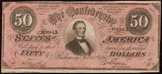 1864 $50 Dollar Bill Confederate States Currency Civil War Paper Money Au/unc photo