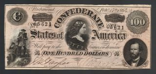 $100 Dollars Old Confederate Currency 1864 Csa T - 65 Pickens Soldiers Paper Money photo