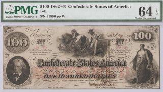 Stunning 1862 Civil War $100 Dollar Csa Confederate T - 41 Pmg Choice Unc 64 Epq photo