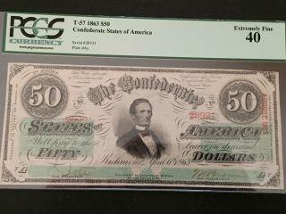 1863 Civil War $50 Dollar Csa Confederate T - 57 Pcgs 40 Ef photo