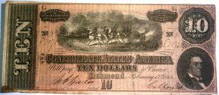 Confederate $10 1864 Series,  Plate G,  Cs68 photo