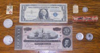 1864 $20 Confederate Note,  1958 $1 Silver Cert,  Gold,  Ben Franklin ' S,  Wheat ' S,  More photo