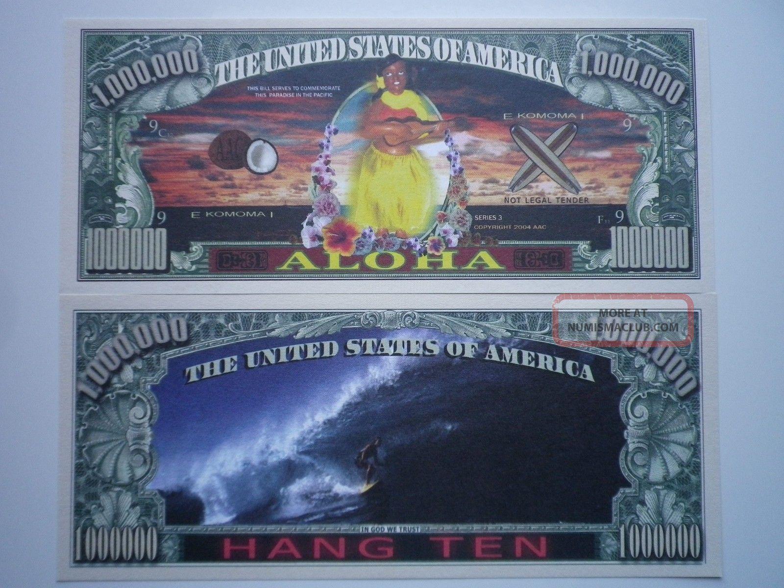 2 Bills - Aloha Hawaii Novelty Currency Bill,  Currency Holder 2/$1.  00 Paper Money: US photo