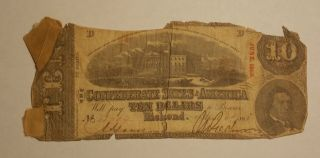 1863 Confederate States Of America Csa $10 Ten Dollars Bank Note, photo