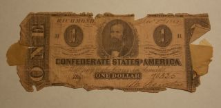 1862 Confederate States Of America Csa $1 One Dollar Bank Note, photo